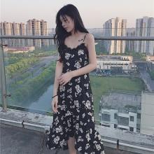 Women OL Spaghetti Strap Black Floral Print Maxi Dress
