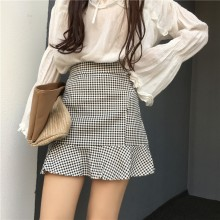 [PRE-ORDER] Women Fishtail Checkered High Waist Skirt