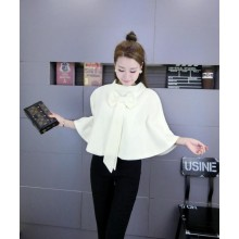 [PRE-ORDER] Women Cape Bow Knot Woolen Jacket