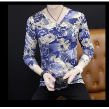 [PRE-ORDER] Men V-Neck Floral Long Sleeves T-Shirt