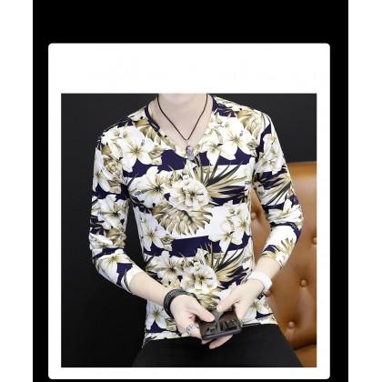 Men V-Neck Floral Long Sleeves T-Shirt