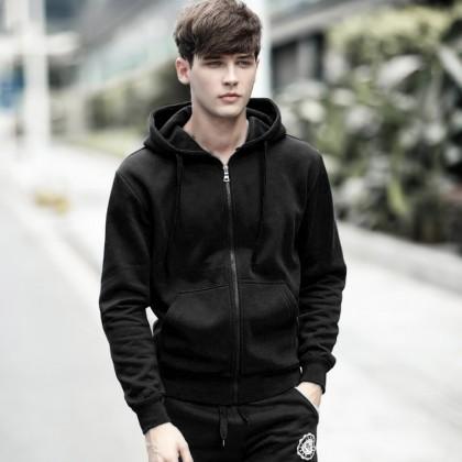 Men Plain Black Hoodie Jacket