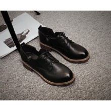[PRE-ORDER] Women Winter England College Wind Wild Flat Lace Black Small Shoes
