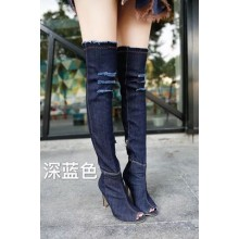 [PRE-ORDER] Women Pointed Shallow Mouth Knit High Heels