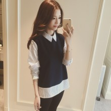 [PRE-ORDER] Women Korean Students Fake Two Bottoming Shirt