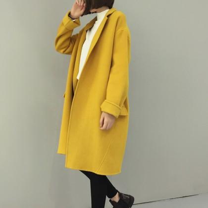 Women Long Double Wool Cashmere Coat Jacket