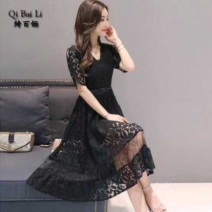 [READY STOCK] Women Slim Short-Sleeved Long Net Yarn Lace Dress
