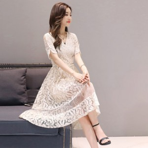 Women Slim Short-Sleeved Long Net Yarn Lace Dress