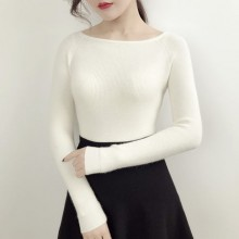 [PRE-ORDER] Women New Tide Korean Version of  Word Collar Sweater