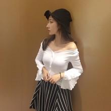 Women  New Lotus Flare Sleeve V-Neck Short Sleeve T-Shirt