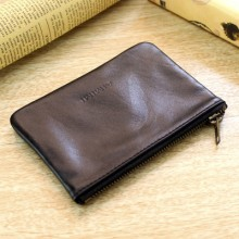 Men First Layer Of Sheepskin Mini Purse, Simple Leather Zip Coin Bag