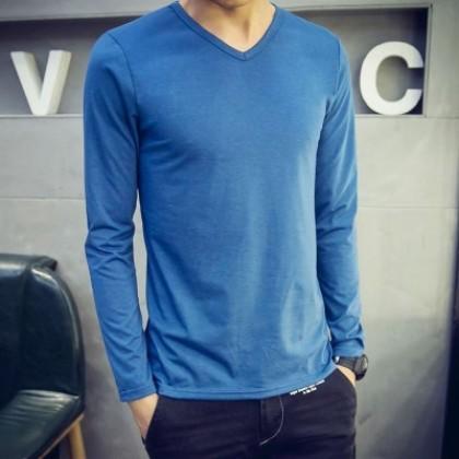 Men Autumn T Long-Sleeved V-Neck Bottoming Shirt