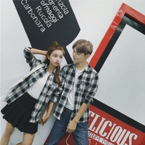 Men Autumn New  Long-Sleeved Plaid Shirt, Couple Wild Shirt