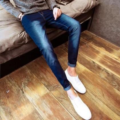 Men New Slim Korean Jeans Pants