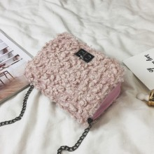 [PRE-ORDER] Women Chic Fashion Cute Lamb Hair Buckle Small Square Bag