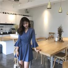 [PRE-ORDER] Women Vintage Hong Kong Style Thin Loose Wild Speaker Sleeves, Long Skirt