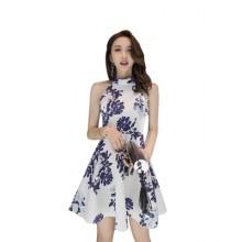 [PRE-ORDER] Women Sleeveless Halter Dress New Korean Fashion Print Dress A Skirt