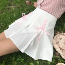 [PRE-ORDER] Women  Japanese Soft Sister Small Fresh Wild Cross Bow Ribbon, Student Skirt