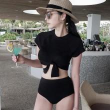 [PRE-ORDER] Women Ultra-Ocean Models Knotted Shirt High Waist Split Swimsuit Bikini