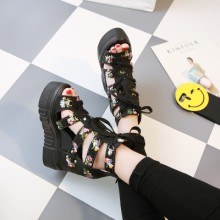 [PRE-ORDER] Women Floral Tie with Loose Bottom Sexy Shoes Thick Fish Head Sandals