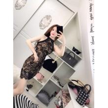 Women Summer New Temperament Lace Slim Bag Hip Halter Evening Dress