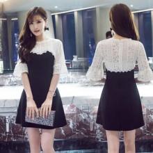 [PRE-ORDER] Women Korean Fashion Sleeve Lace Stitching Open Slim dress A word skirt