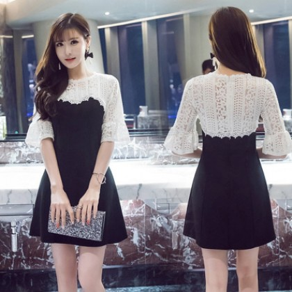 Women Korean Fashion Sleeve Lace Stitching Open Slim dress A word skirt