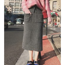 [PRE-ORDER] Women Knitted Autumn and Winter Thickened Pocket High Waist Pack Hip Skirt