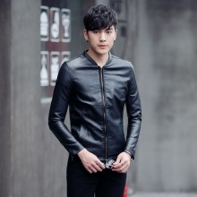 [PRE-ORDER] Men's Coat Slim Winter Plus Cashmere Thick Korean Youth Leather Jacket