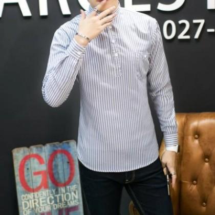 Men's Hong Kong Style Striped Long-Sleeved Casual Teen Wild Shirt