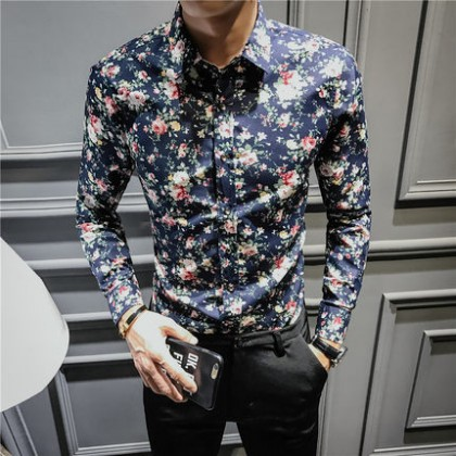 Men Velvet Padded Long-Sleeved Slim Youth Floral Shirt