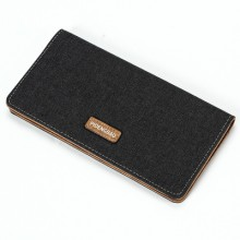 Men Canvas Long Thin Multi-Card Bit Soft Leather Clip Youth Simple Fashion Wallet