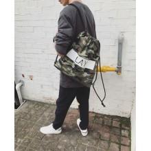 [PRE-ORDER] Men Black-and-White Letters Drawstring Studio Crest Crown Backpack