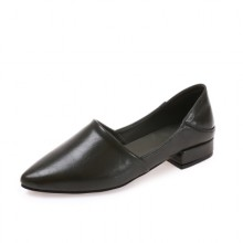 [PRE-ORDER] Women British Style Casual Wild Students Small Leather Rough Pointy Shoes