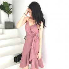 Women Solid Color V-neck Strap Flounced Long Dress