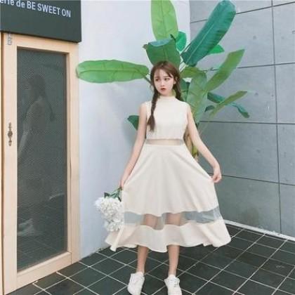Women Retro Sleeveless Hollow Mesh Splicing Long Dress