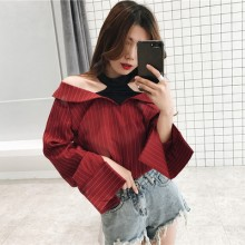 Women College Loose V-neck Striped Fake Two-piece Shirt