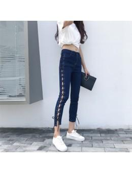 [PRE-ORDER] Women High Waist Tight Split Straps Slim Jeans Pants