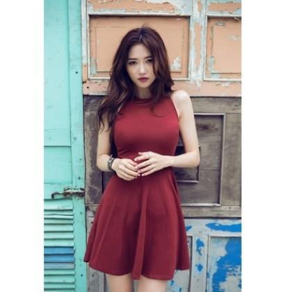 Korean Fashion Sexy Sleeveless Round Neck Dress