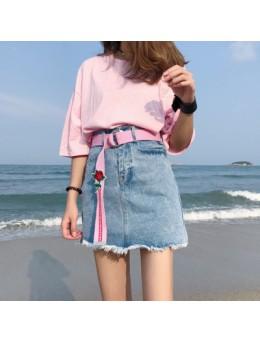[PRE-ORDER] Women Slim High-waist Embroidery Belt Denim Skirt