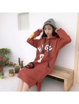 [PRE-ORDER] Women Korean Hooded Cashmere Harajuku Student Sweater Long Jacket