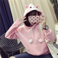 [PRE-ORDER] Women Cute Hooded Sweater Loose Velvet Thick Coat