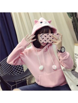 [PRE-ORDER] Women Cute Hooded Sweater Loose Velvet Thick Coat