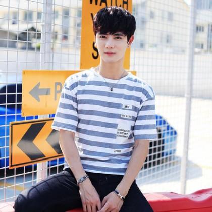 Men's Korean Short-sleeved Printing Stripe T-shirt