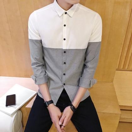 Men's Japanese Basic Long-sleeved Two Color Shirt
