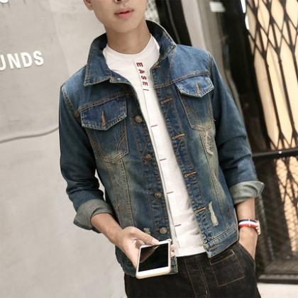 Men's Korean Slim Denim Pocket Long-sleeved Jacket