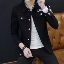 [PRE-ORDER] Men's Korean Black Denim Pocket Long-sleeved Jacket