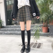 [PRE-ORDER] Women Korean High Waist Stretchable Woolen A Shape Plaid Skirt