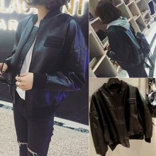 [PRE-ORDER] Women Trendy Baseball PU Leather Long Sleeve Cool Jacket