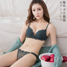 [PRE-ORDER] Women No Rims Sexy Lace Japanese Thickened Gather Bra Set